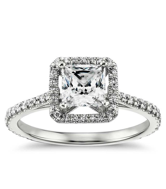Blue Nile Princess-Cut Floating Halo Diamond Engagement Ring