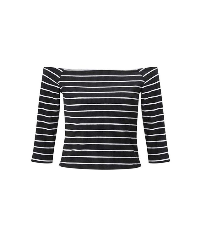 Miss Selfridge Petites 3/4 Stripe Bardot Top
