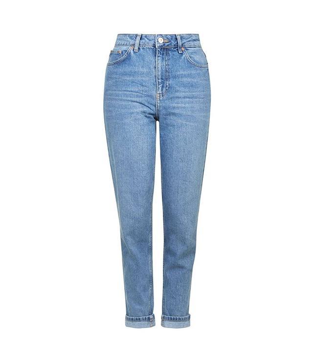 Topshop Moto Mid-Blue Mom Jeans