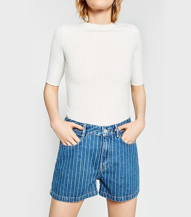 Zara Striped Denim Shorts