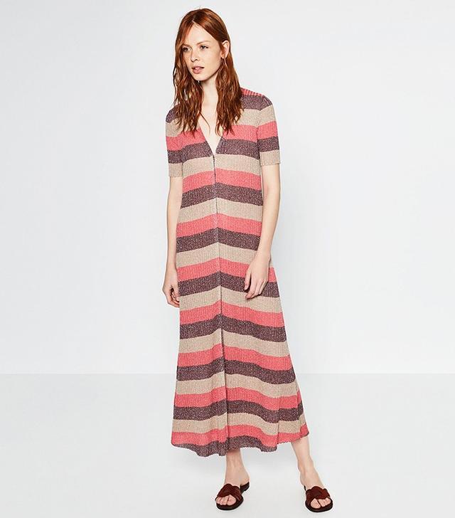 Zara Long Striped Button Dress