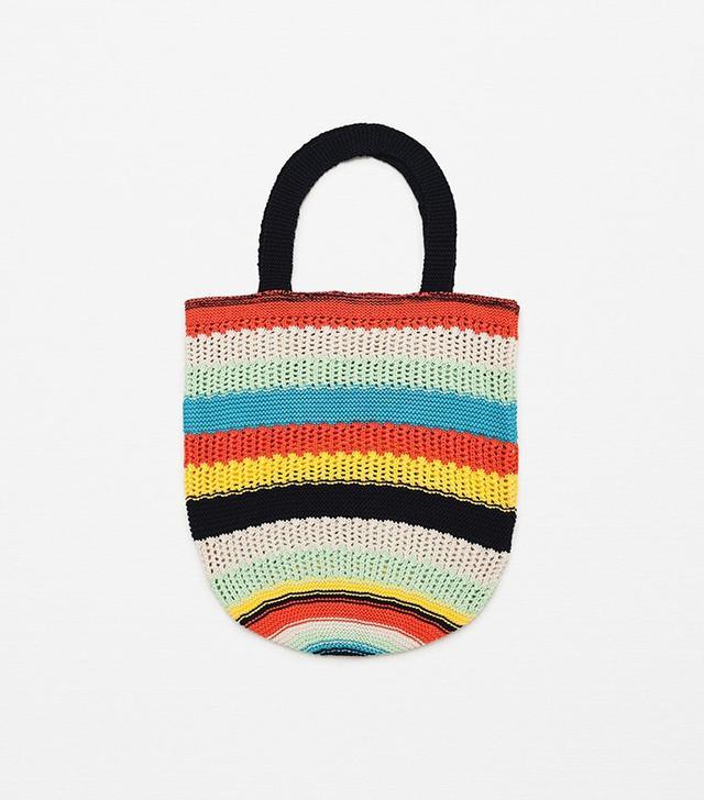 Zara Multicoloured Striped Knit Bag