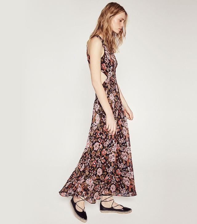 Zara Open Back Printed Long Dress
