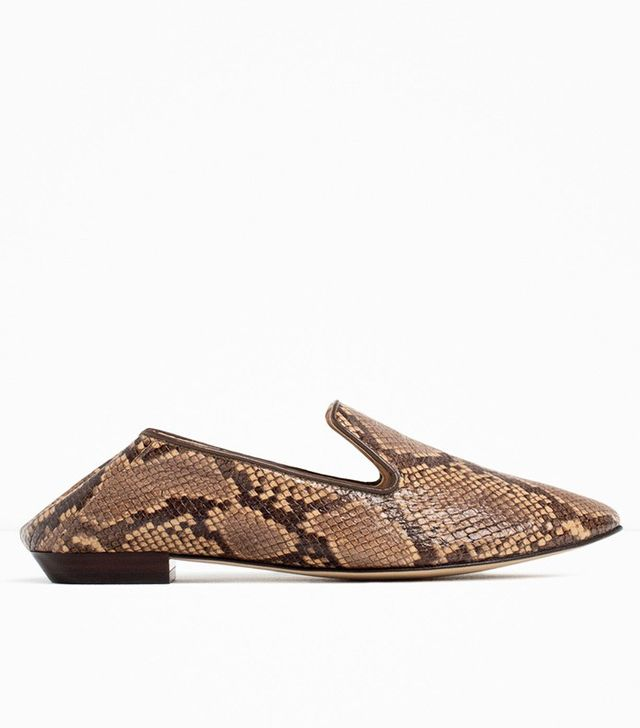 Zara Printed Flat Leather Shoes