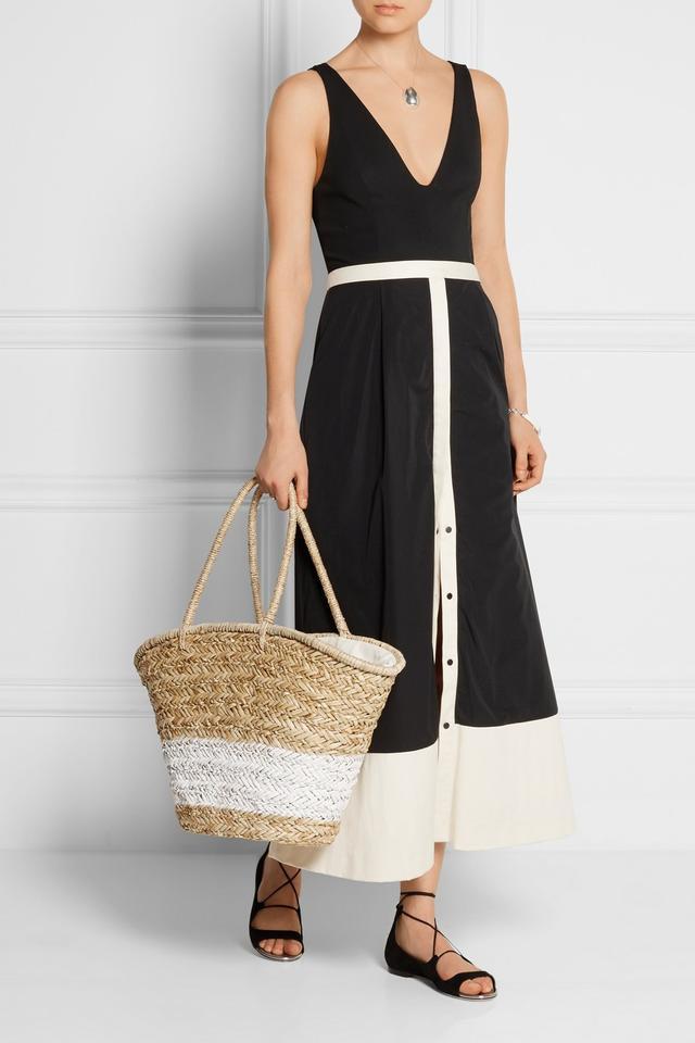 La Ligne Bardot Two-Tone Twill-Trimmed Jersey and Poplin Midi Dress