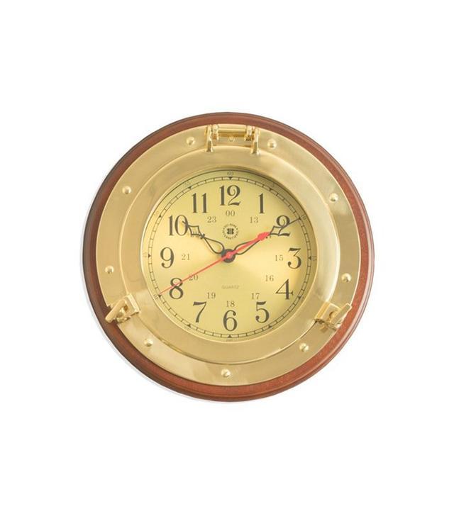 One Kings Lane Brass Porthole Wall Clock