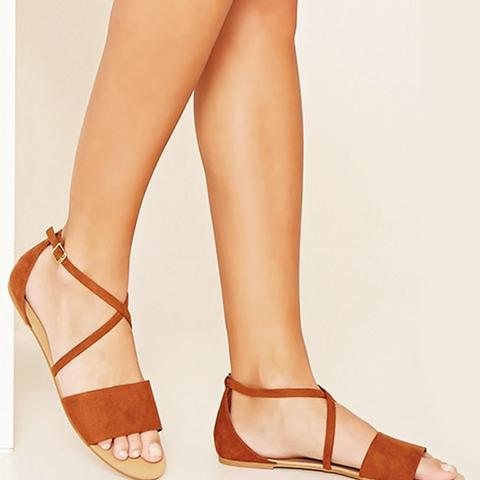 Crisscross Faux Suede Sandals