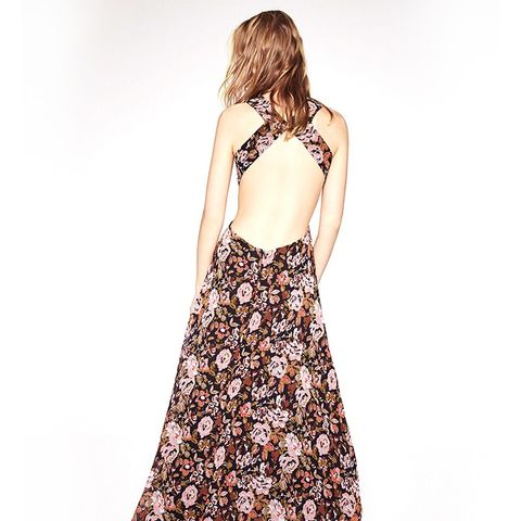 Open Back Printed Long Dress