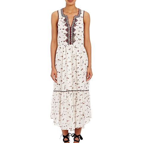 Embroidered Chiffon Leena Midi-Dress