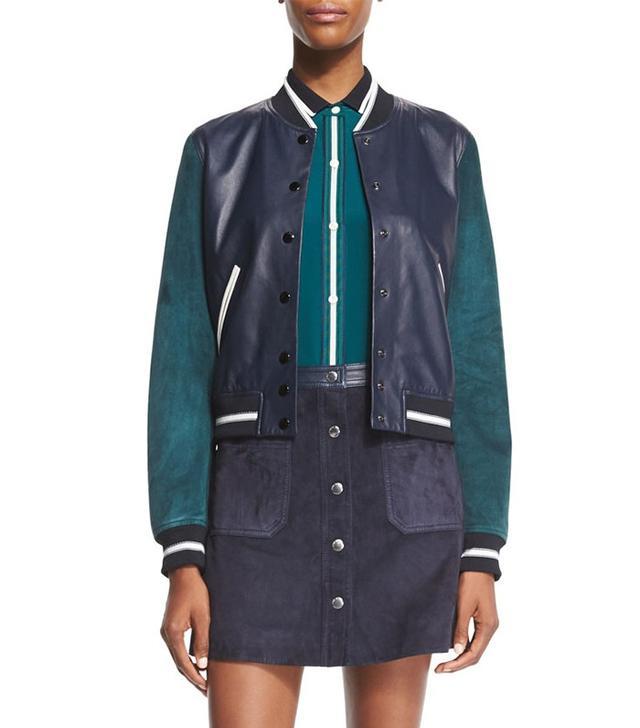 Rag & Bone Alex Leather Colorblock Varsity Jacket
