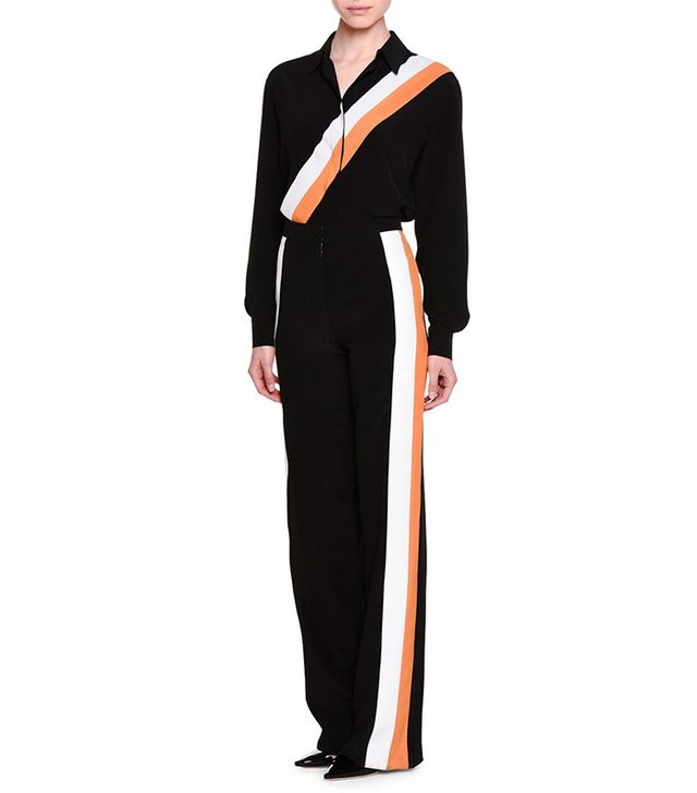 Stella McCartney Button-Front Racing-Stripe Blouse
