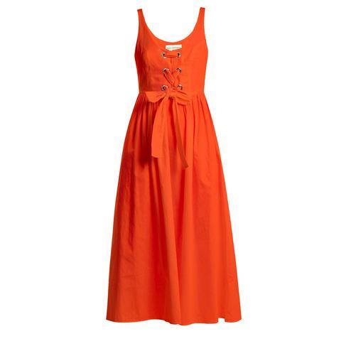 Athena Lace-Up Woven Dress