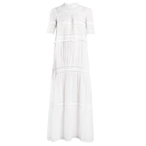 Vealy High-Neck Ruffle-Trimmed Dress