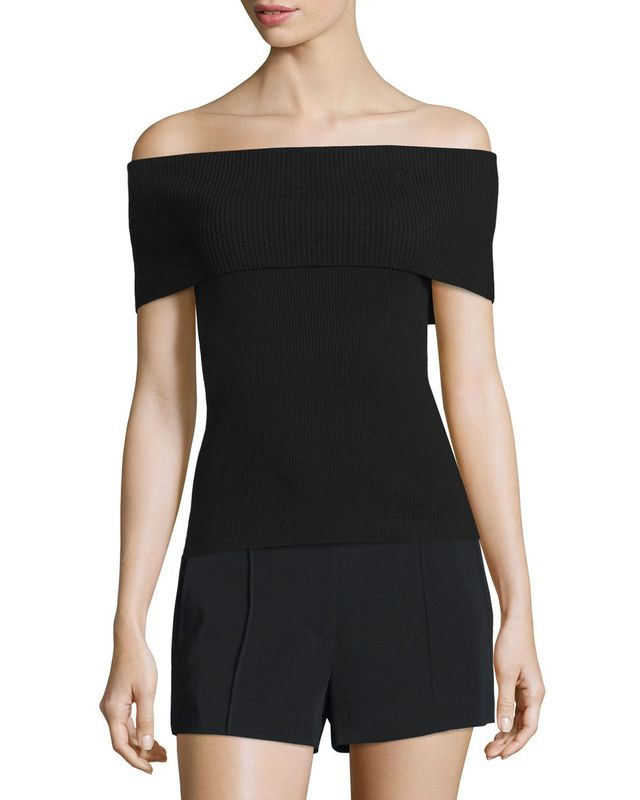 A.L.C. Sean Off-the-Shoulder Ribbed Merino Top