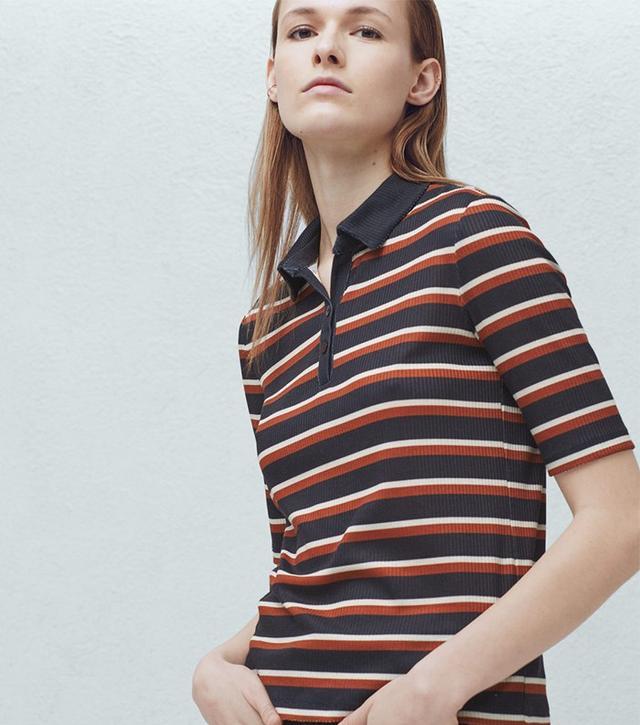 Mango Stripe Textured Polo Shirt