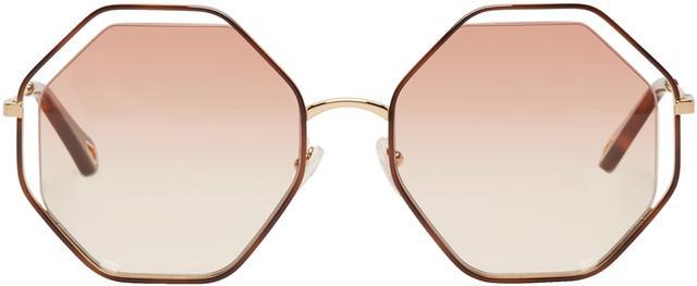 Chloe Gold & Pink Hexagon Sunglasses