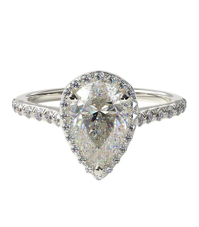 James Allen White Gold Pave Halo and Diamond Shank Engagement Ring