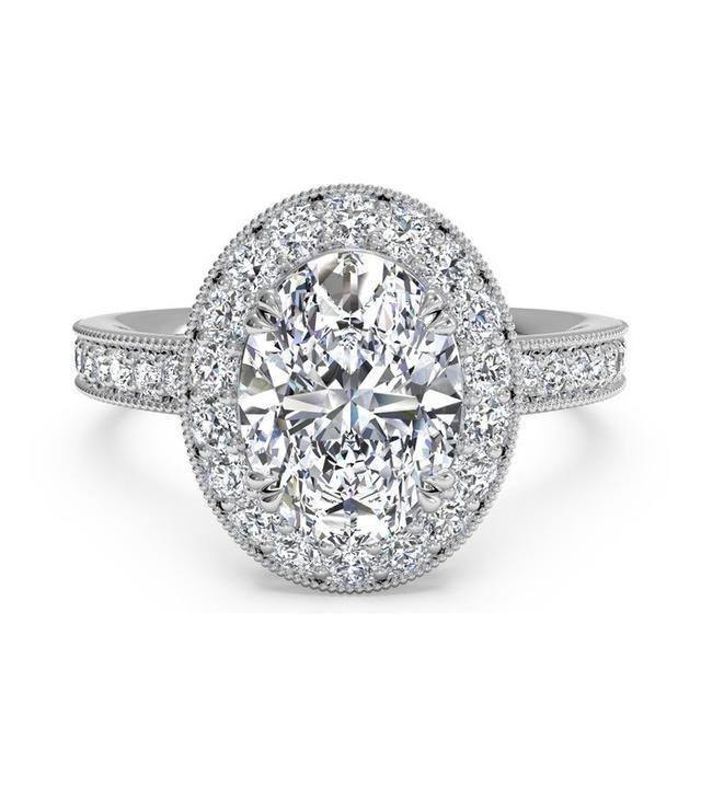 Ritani Vintage Halo Diamond Engagement Ring With Surprise Diamonds