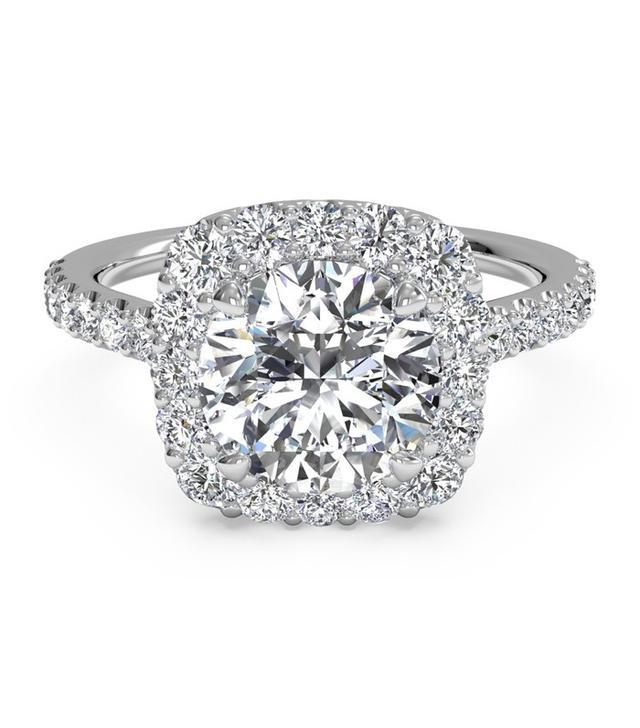 Ritani Round Cut French-Set Halo Diamond Band Engagement Ring