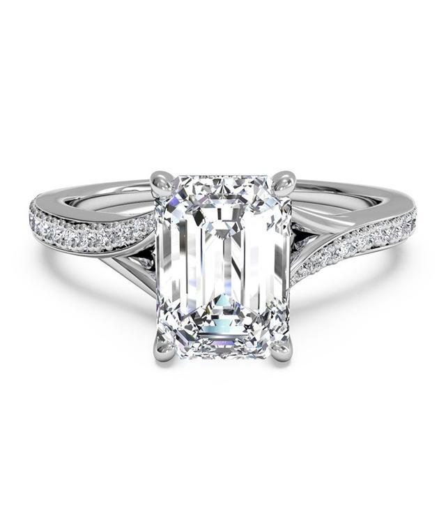 Ritani Emerald Cut Modern Bypass Micropavé Diamond Band Engagement Ring