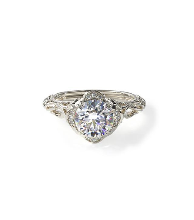 James Allen White Gold Diamond Filigree Engagement Ring
