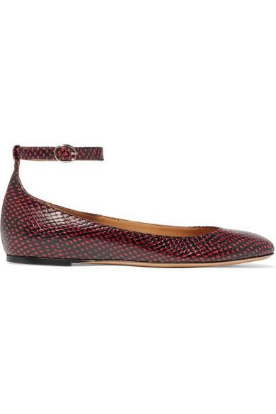 Lili Python-Effect Leather Ballet Flats