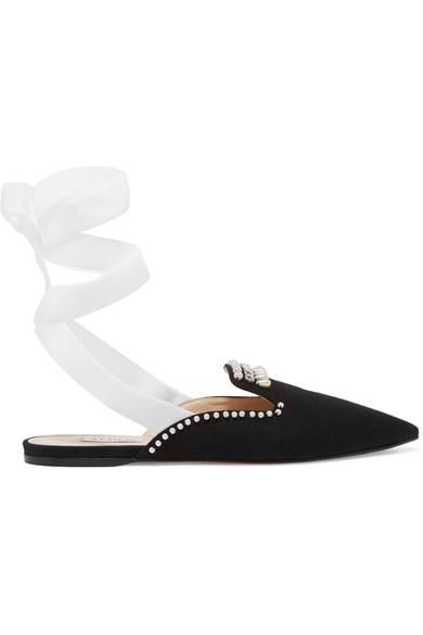 Elena Embellished Canvas Slippers