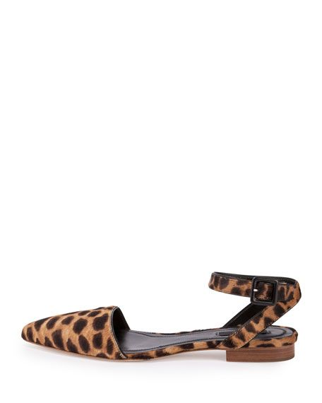 Lara Calf-Hair Ankle-Wrap d'Orsay Flats