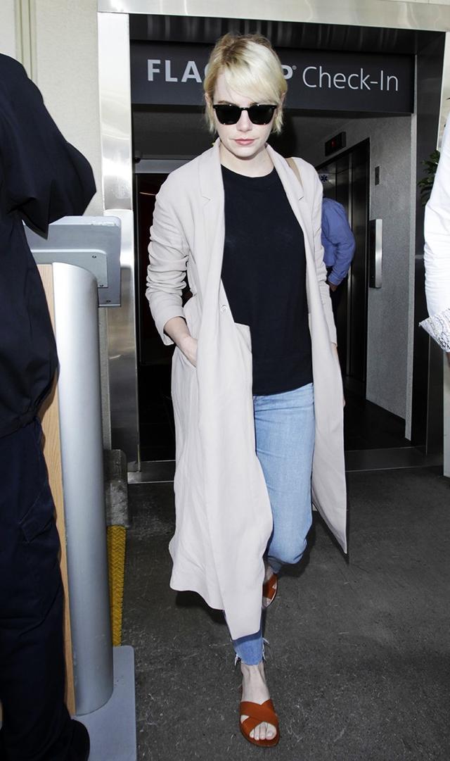 Lightweight Coat + Jeans + Slides