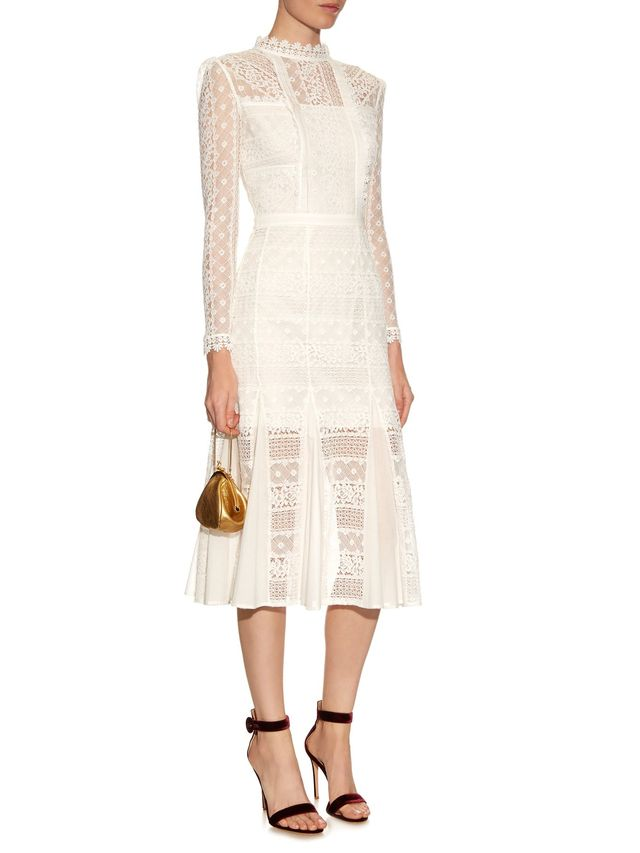 Temperley London Desdemona Long-Sleeve Lace Midi Dress
