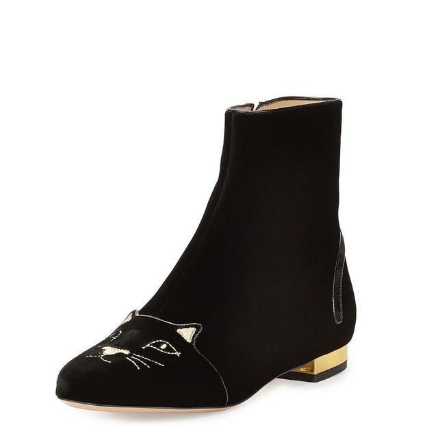 Charlotte Olympia Velvet Puss in Boots Short Boot in Black