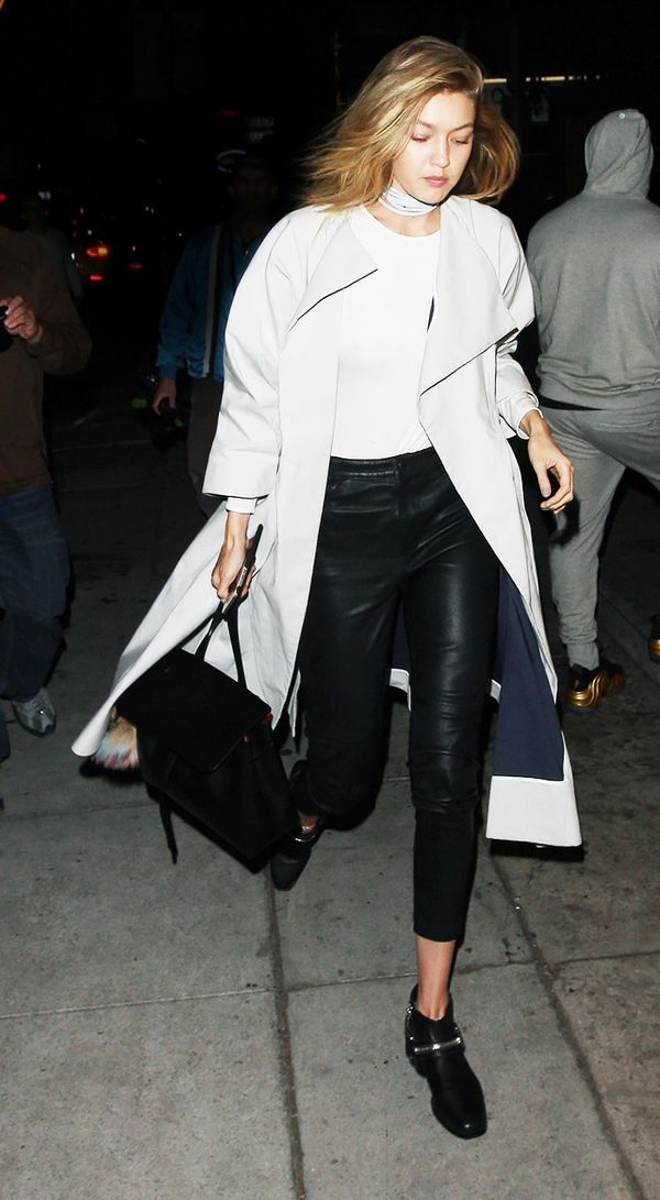 White Tee + Boots + Duster Coat