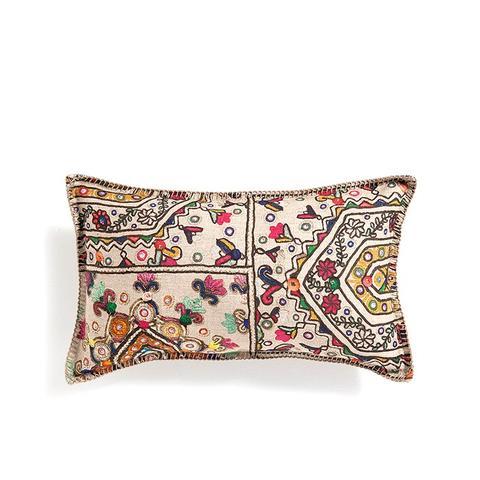 Linen Pillow With an Ethnic Motif