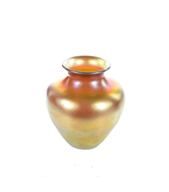 Vintage Gold Iridescent Art Glass Vase