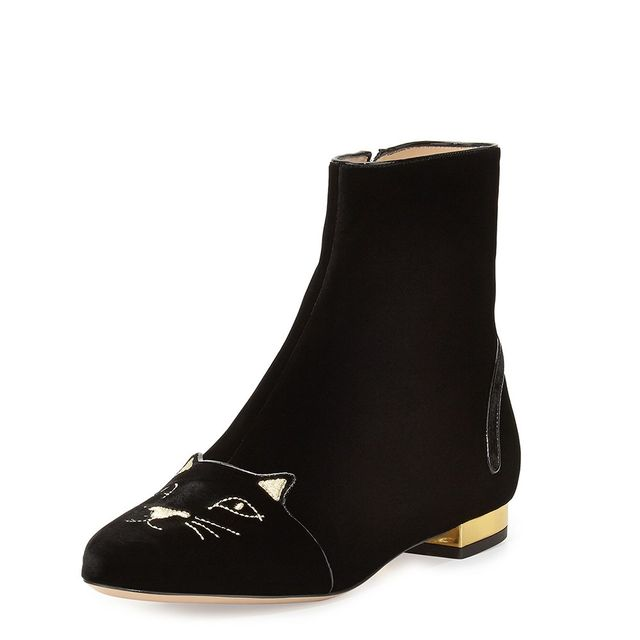 Charlotte Olympia Velvet Puss in Boots Short Boot in Black