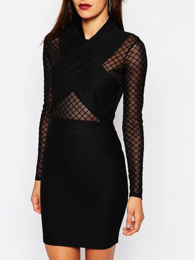 Missguided Long Sleeve Mesh Cross Over Dress
