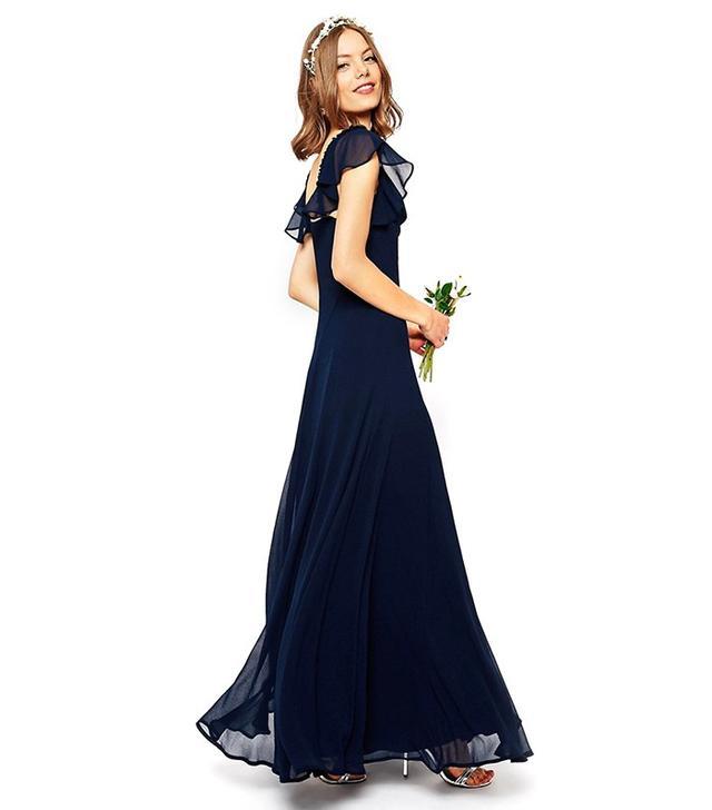ASOS Wedding Frill Shoulder Detail Maxi Dress