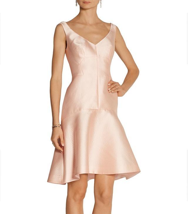 Lela Rose Paneled Embossed Satin Dress