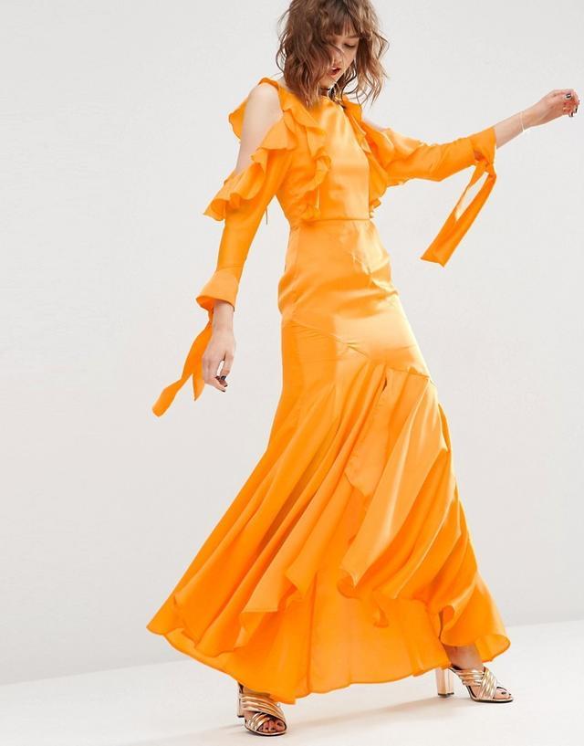 ASOS Cold Shoulder Long Sleeve Ruffle Dress