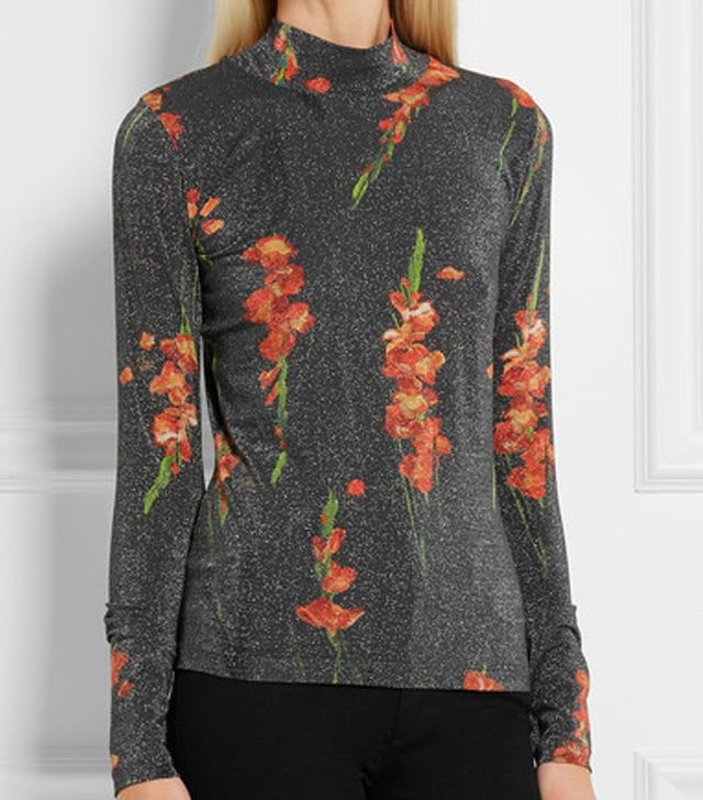 Topshop Unique Sidgewick Floral-Print Jersey and Lurex Top