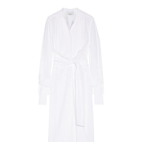 Knotted Cotton-Poplin Midi Shirt Dress
