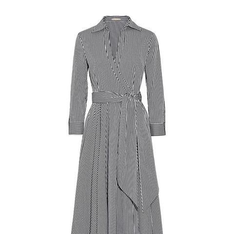 Gingham Stretch Cotton-Blend Poplin Wrap Dress