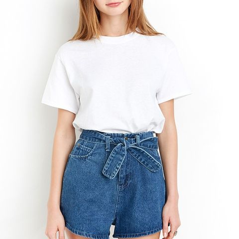 Waist Belt Tie Denim Shorts