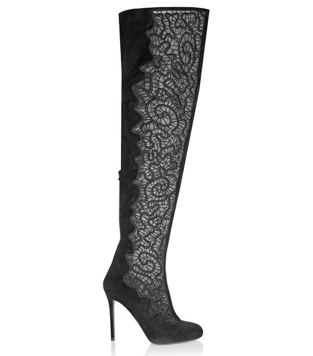 Nicholas Kirkwood Embroidered Mesh and Suede Over-the-Knee Boots