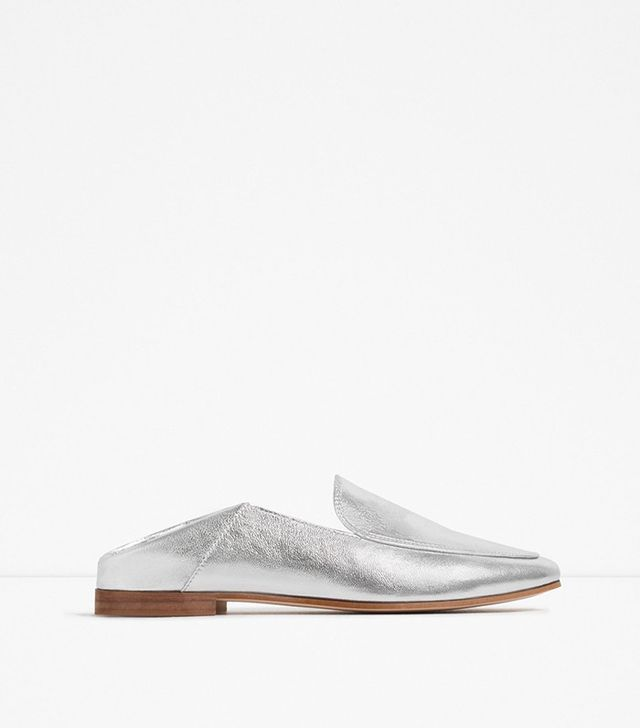 Zara Laminated Leather Loafers
