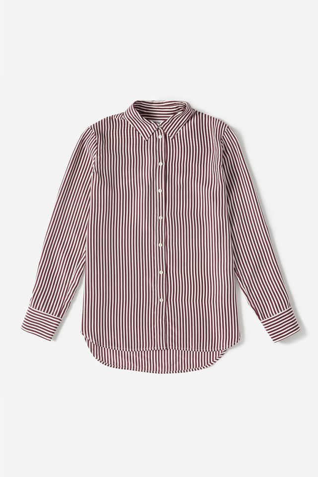 Women's Relaxed Silk Shirt by Everlane in Burgundy / Bone, Size 14