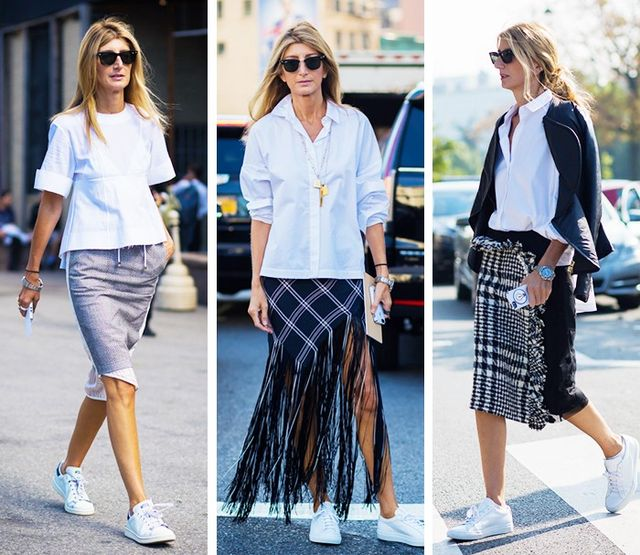 Crisp White Top + Pencil Skirt + Sneakers