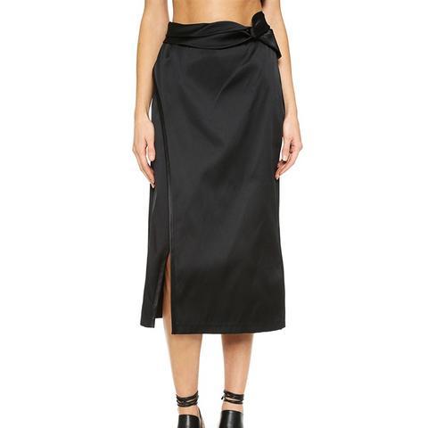 Knotted Side Slit Skirt