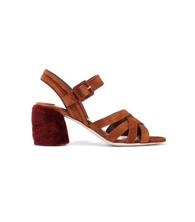 Miu Miu Shearling Trimmed Sandals