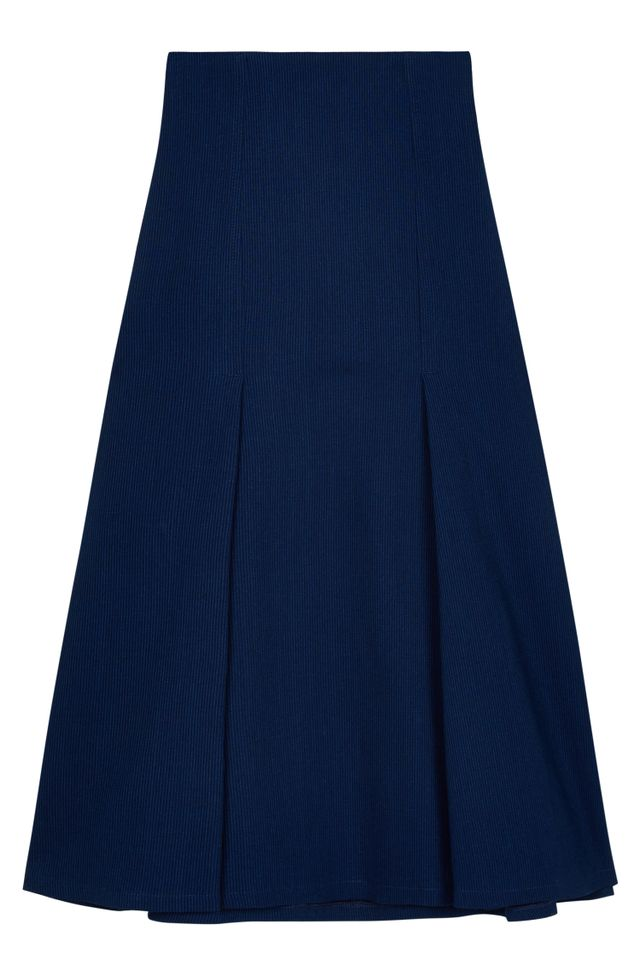 Atea Oceanie x Man Repeller Pinstripe Denim Midi Skirt